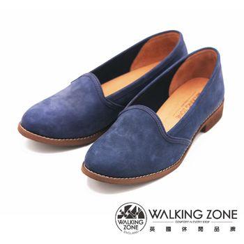 WALKING ZONE 麂皮絨面淺口尖頭 女鞋-藍(另有棕)