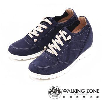 WALKING ZONE 內增高綁帶運動鞋 休閒鞋 女鞋-藍(另有咖)
