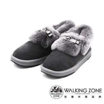 WALKING ZONE 日系蝴蝶結毛絨絨雪靴踝靴 女鞋-灰(另有黑)