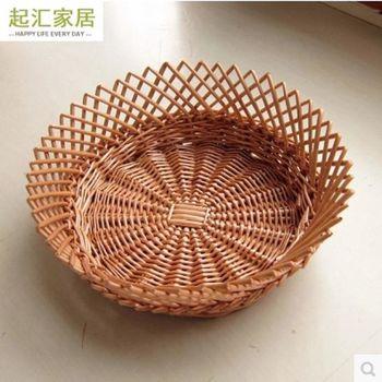 [協貿國際]  家居柳編收納筐展示筐圓形藤柳編水果盤