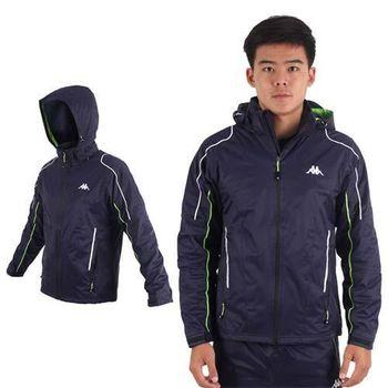 【KAPPA】男雙層風衣外套-防風 防水 保暖 刷毛 立領 丈青芥末綠