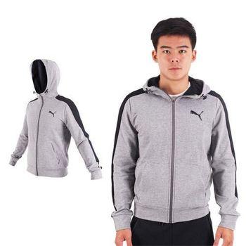 【PUMA】男基本系列小豹連帽外套-慢跑 路跑 訓練 長袖外套 麻灰黑