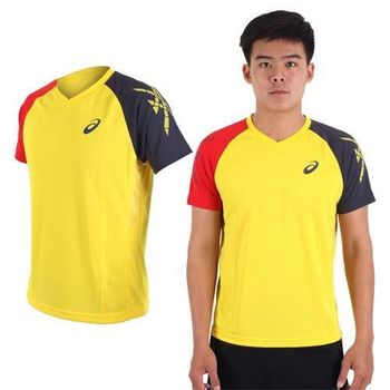 【ASICS】男排羽球短袖T恤-訓練 排球 羽球 亞瑟士 黃丈青紅