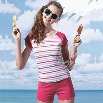 【沙兒斯品牌】亮麗經典條紋時尚二件式短袖泳裝 NO.B92660-07