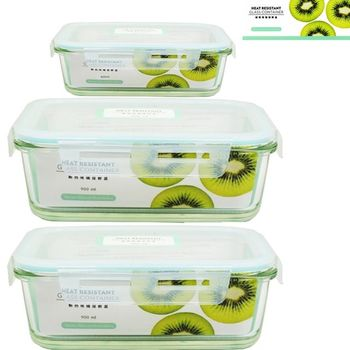 【SYG台玻】耐熱玻璃 長方形 保鮮盒 x3入組(400mlx1+900mlx2)/餐盒/便當盒/沙拉碗(台灣玻璃)