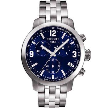 TISSOT 天梭 PRC200 霸氣時尚三眼計時腕錶/藍/42mm/T0554171104700