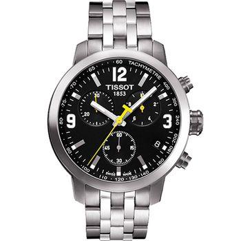 TISSOT 天梭 PRC200 霸氣時尚三眼計時腕錶/黑/42mm/T0554171105700