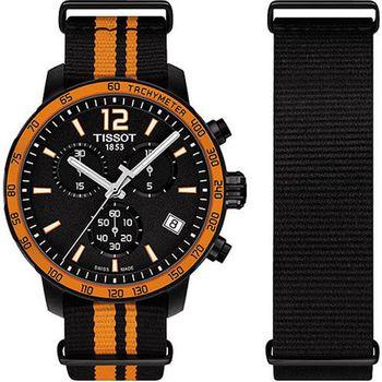 TISSOT 天梭 QUICKSTER NATO 運動三眼時尚腕錶-42mm/T0954173705700
