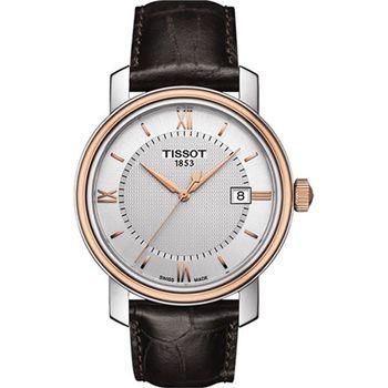TISSOT 天梭 寶環系列經典石英腕錶-40mm/銀x玫瑰金框/T0974102603800
