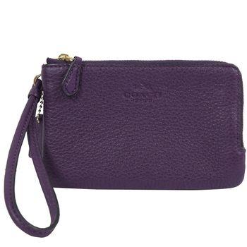 COACH 66505 馬車LOGO荔枝皮革手提雙層零錢包.深紫