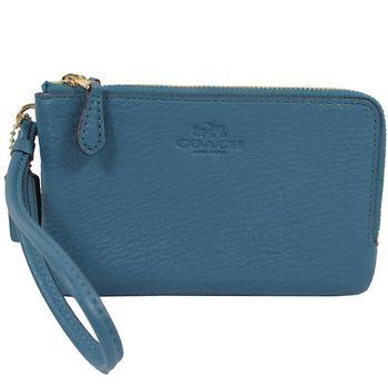 COACH 66505 馬車LOGO荔枝皮革手提雙層零錢包.藍