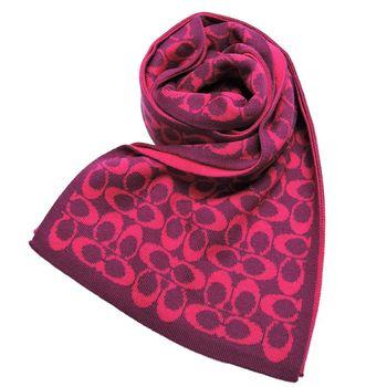 COACH 羊毛雙色配LOGO圍巾(2色選)