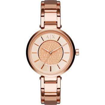 A│X Armani Exchange 品牌字母浮雕腕錶-玫瑰金/38mm AX5317