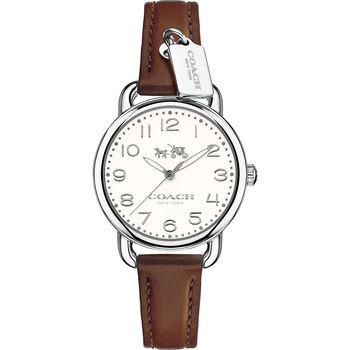 COACH Delancey 紐約摩登Coach小吊飾女錶-米色x咖啡/28mm 14502547