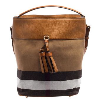 BURBERRY THE ASHBY CANVAS格紋棉麻流蘇造型牛皮飾邊手提/肩背包(中-鞍褐色)