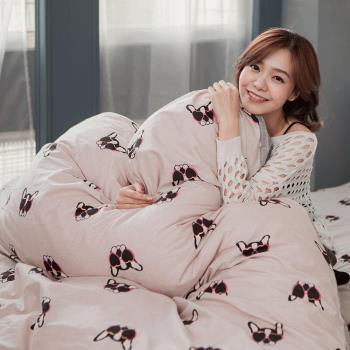 BELLE VIE 精梳棉雙人床包被套四件組 家有酷狗 台灣製