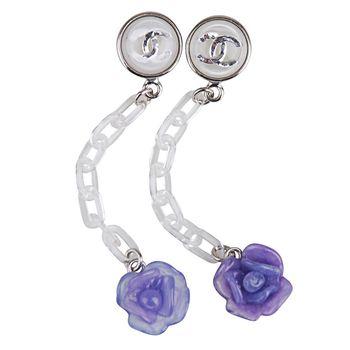 (展示品出清) CHANEL 壓克力穿式耳環(紫)