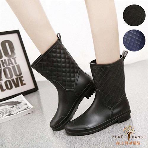 【森之舞】蘇格蘭風情菱格紋 防滑雨鞋(黑色/藍色)2色選