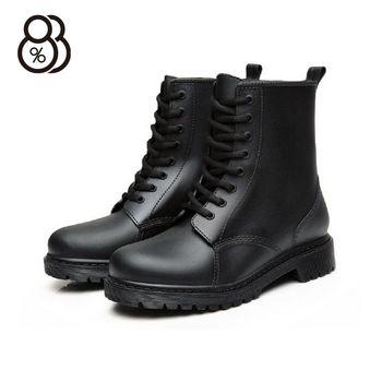 【88%】英式雨鞋 綁帶馬丁雨靴 雨天熱銷款 輕便百搭防水 低粗跟雨鞋