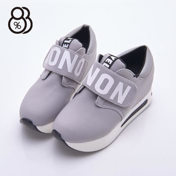 【88%】韓版英文字自粘魔鬼氈 6.5cm厚底隱形內增高運動鞋 休閒鞋