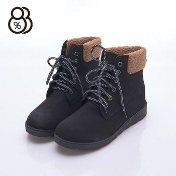 【88%】秋冬靴款 百搭素面綁帶麂皮絨毛 跟高3cm 短靴 靴子