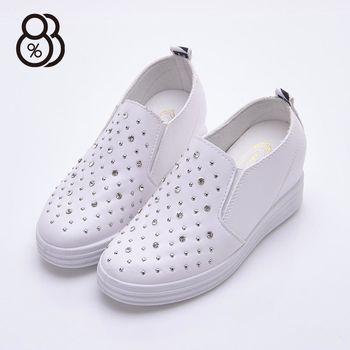 【88%】韓版街頭 鉚釘水鑽 皮革隱形內增高2.5cm 休閒鞋