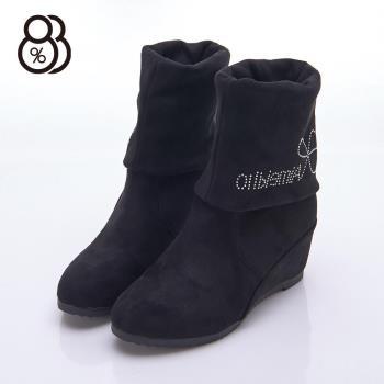【88%】百搭靴秋冬款 英文水鑽拼貼 絨毛質感 隱形內增高5cm 中筒靴