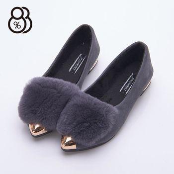 【88%】韓版時尚 金屬尖頭 絨毛毛鞋 低粗跟2cm 娃娃鞋