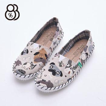 【88%】MIT台灣製 鬥牛犬 法鬥 巴哥 狗狗可愛插圖 圓頭包鞋 懶人鞋 休閒鞋 輕便鞋