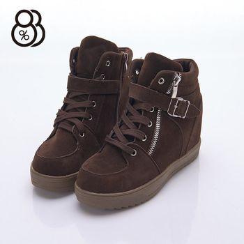 【88%】韓版秋冬款 麂皮綁帶金屬扣環側拉鍊 短靴 靴子 隱形內增高4.5cm 跟高2.5cm