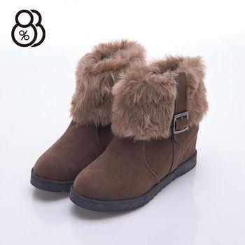 【88%】冬季保暖 北歐時尚毛絨滾邊 麂皮金屬扣 隱形內增高5cm 中筒靴 靴子