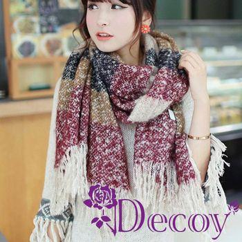 【Decoy】聖誕禮物首選-渲染流蘇*仿羊毛編織圍巾/四色可選 再送觸控手套