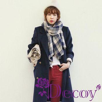 【Decoy】聖誕禮物首選-千鳥格紋*加長編織圍巾/藍 再送觸控手套