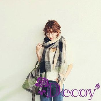 【Decoy】聖誕禮物首選-時尚大格紋*加長編織圍巾/黑 再送觸控手套