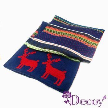 【Decoy】聖誕禮物首選-雙色麋鹿*繽紛民族編織圍巾/藍橘 再送觸控手套