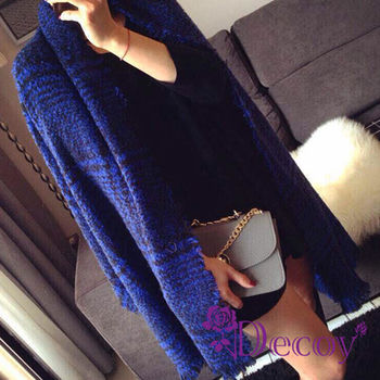 【Decoy】聖誕禮物首選-黑線藍格*毛絨保暖流蘇圍巾/藍 再送觸控手套