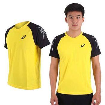 【ASICS】男排羽球短袖T恤-訓練 排球 羽球 亞瑟士 黃黑  吸濕排汗