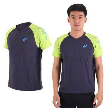 【ASICS】男排羽球短袖T恤-訓練 排球 羽球 亞瑟士 丈青水藍綠  吸濕排汗