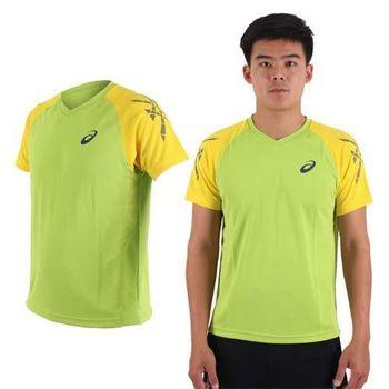 【ASICS】男排羽球短袖T恤-訓練 排球 羽球 亞瑟士 綠黃  吸濕排汗