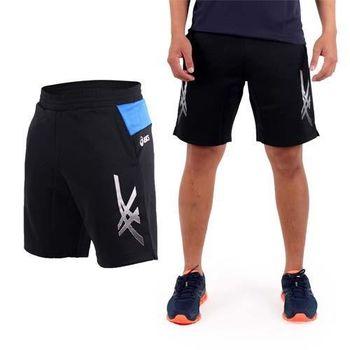 【ASICS】男針織短褲-訓練 慢跑 路跑 亞瑟士 黑寶藍