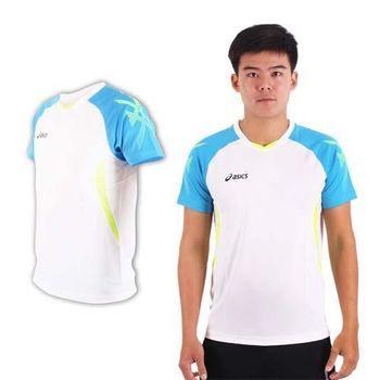 【ASICS】男排羽球短袖T恤-排球 羽球 訓練 亞瑟士 白藍螢光黃