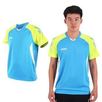 【ASICS】男排羽球短袖T恤-排球 羽球 訓練 亞瑟士 藍黃白