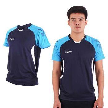 【ASICS】男排羽球短袖T恤-排球 羽球 訓練 亞瑟士 丈青藍白