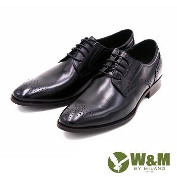 W&M 尖頭休閒鞋時尚皮革雕花皮鞋 男鞋-黑