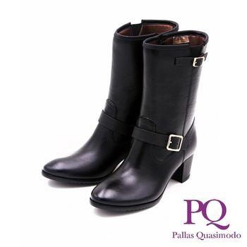 PQ 防水台真皮中跟中筒靴 女鞋-黑(另有咖)