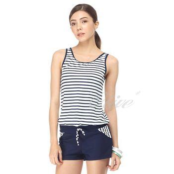 【沙兒斯品牌】經典條紋款式時尚二件式連身褲泳裝 NO.B82416
