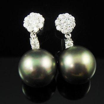 【蕾帝兒珠寶】天真黑色貝珠耳環