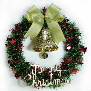 紅綠金蔥聖誕星星花圈(14吋)