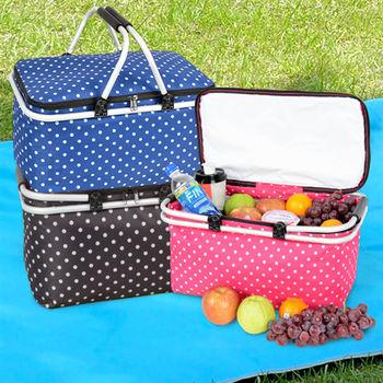 LIFECODE《點點風》鋁合金折疊保冰袋/野餐提籃-3色可選 (買一送一)
