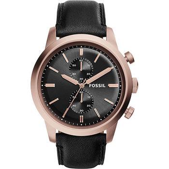 FOSSIL Townsman 紳士計時腕錶-玫瑰金框x黑/48mm FS5097